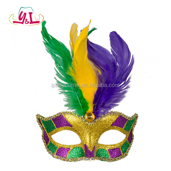 Glitter Purple Gold Feather Mardi Gras Feather Masquerade Masks