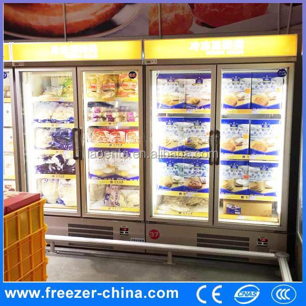 new style 2 glass door commercial supermarket display refrigerator for beverage freezer under counter