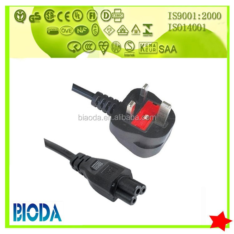BS approval 3 pin with IEC female power cord c5