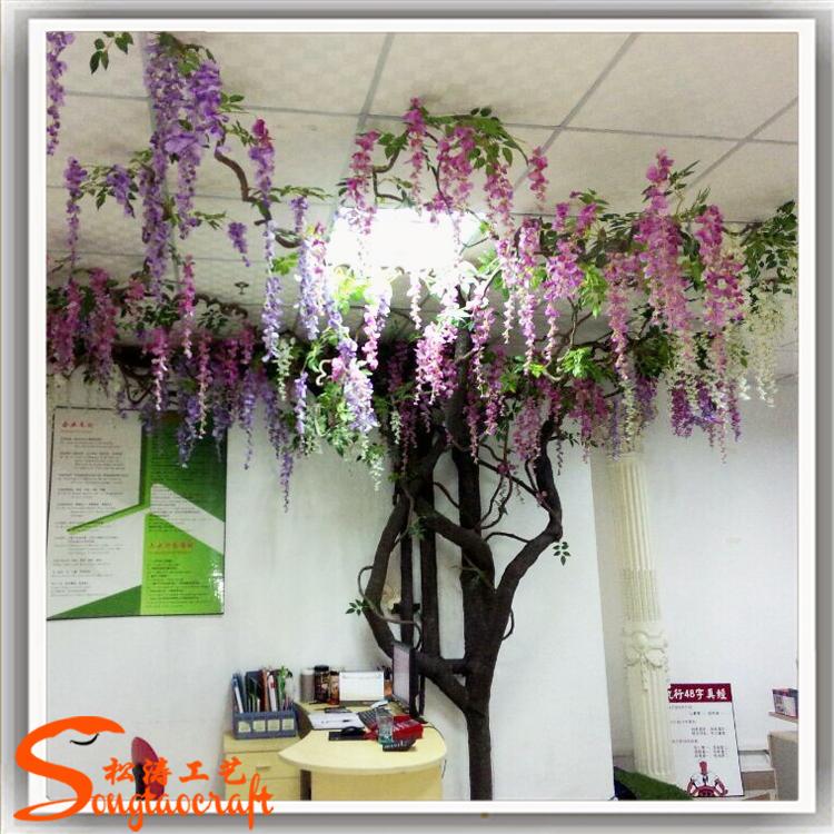 Ornamental Artificial Indoor Wedding Blossom Tree Plastic
