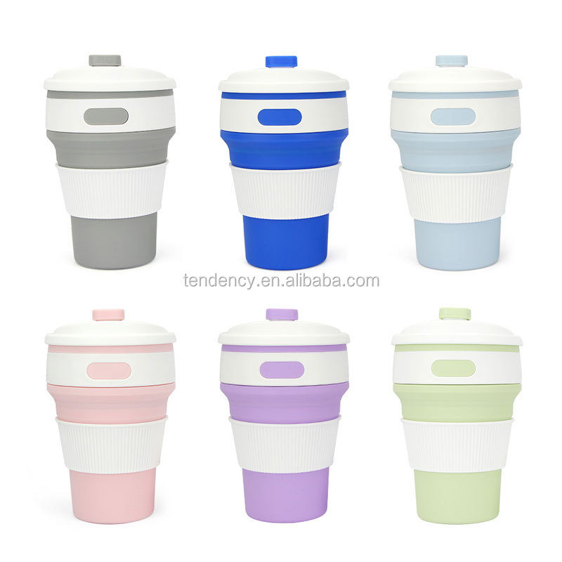 Gift Eco-friendly Mini Cups Water Bottle Silicone resusable coffee collapsible foldable Folding Coffee cup