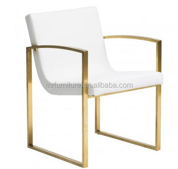 Stainless Steel Unique Sleek Clarice Brush Gold Dining Chair