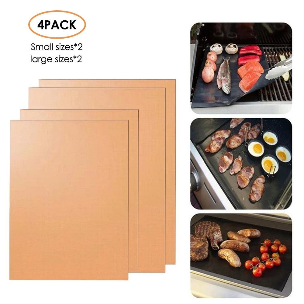 Aolvo Gas Grill Mat, Set of 4 Non Stick Charcoal BBQ Chef Grill Mats Heavy Duty Reusable Grilling Accessories Easy to Clean for Outdoor Barbecue (Copper)