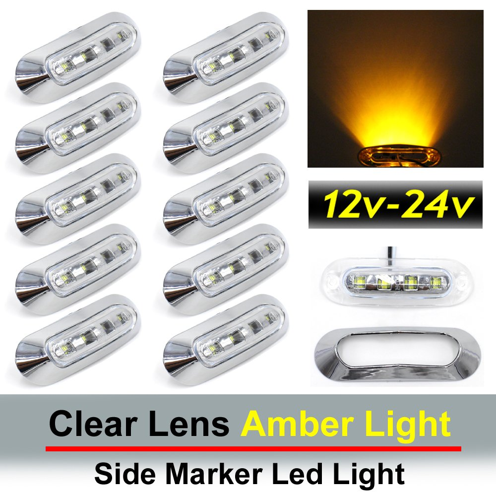 "10 pcs TMH 3.6"" submersible 4 LED Clear Lens Amber Light Side Led Marker 10-30v DC , Truck Trailer marker lights, Marker light amber, Rear side marker light, Boat Cab RV"