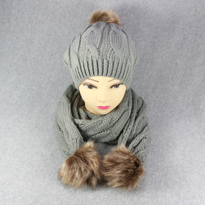 HZW-16441008 wholesale women winter neck warmer set knitting ladies' hat and scarf
