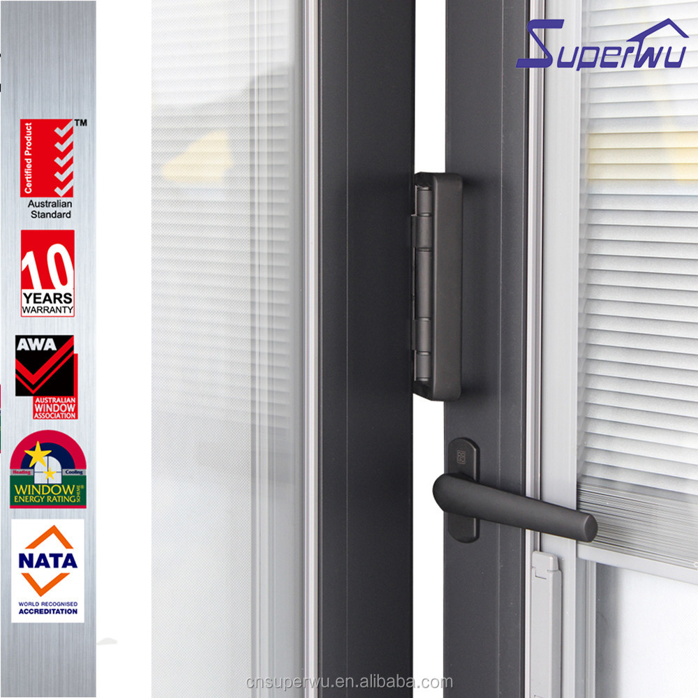 Miami-Dade County Approved Hurricane Certification Built-in shutter aluminium frame folding door for living room