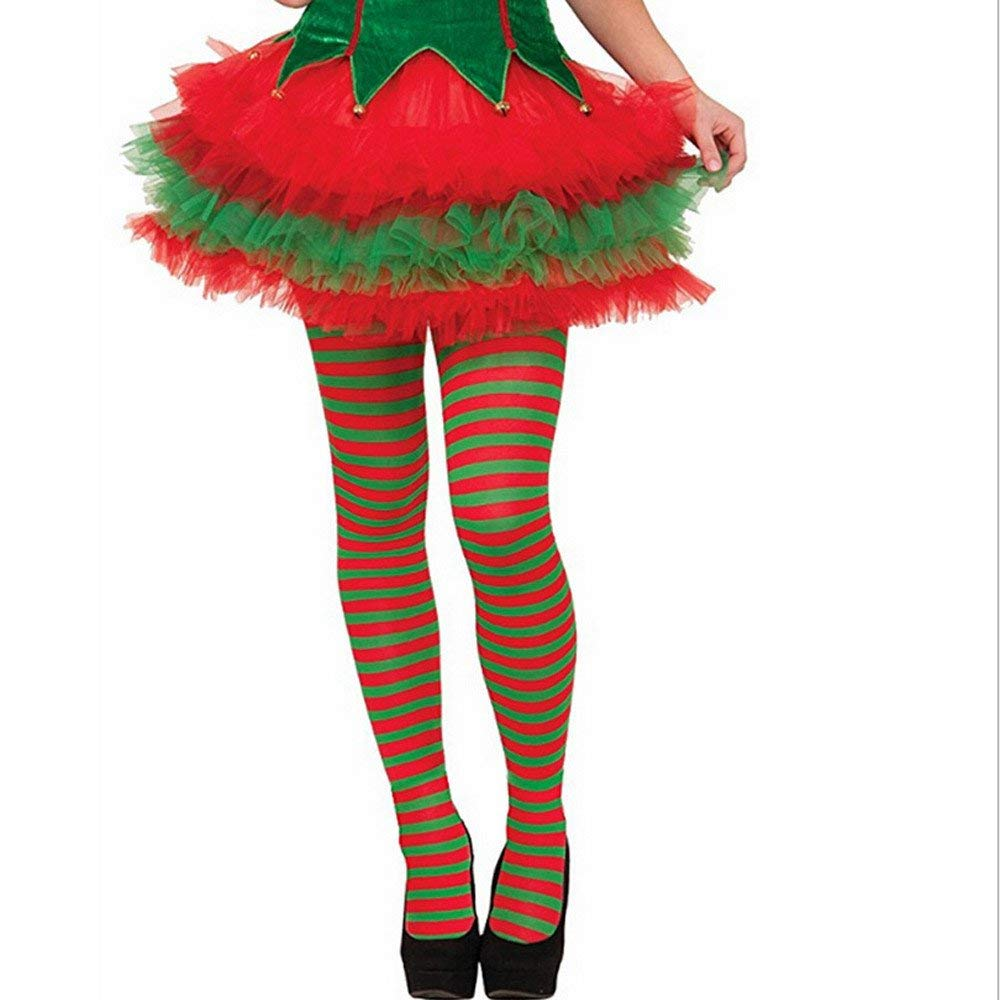 get quotations faber3 1pair elf tights striped red green christmas fancy dress costume knee stockings women warm fuzzy
