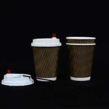 Whole Ripple Wall Paper Coffee Cups 8 Oz Disposable Brown Color Lids Available