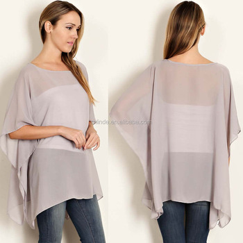 423e64a3208cc0 100% Polyester Solid Chiffon Woven Poncho Top Images Of Chiffon Tops ...