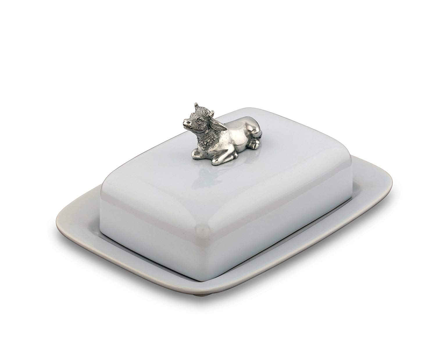 """Vagabond House Stoneware Pewter Metal Mabel the Cow Butter Cream Cheese Dish, 8"""" Long x 6"""" Wide"""