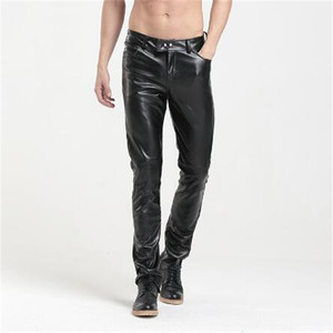 European slim fit skinny fashion sexy stretchy black motorcycle men PU leather biker trousers pants