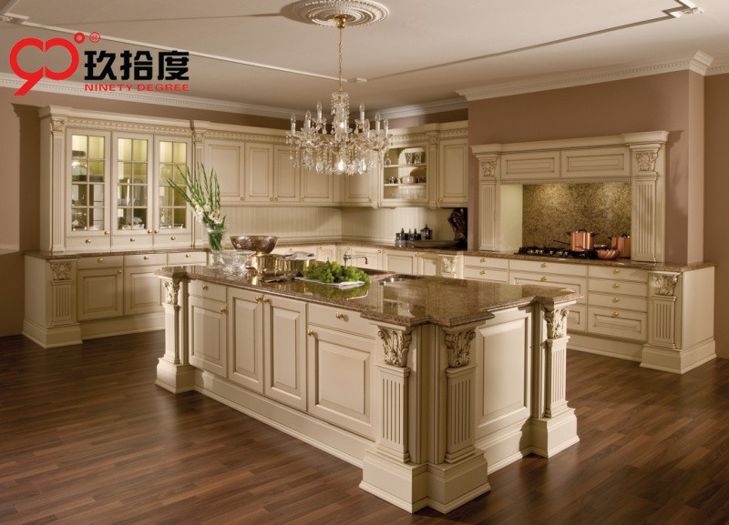 Luxury European Style Kitchen Cabinet With Delicate Rome Column And  Honorable Countertop