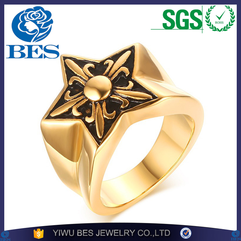 Retro Star Iris Ring Vintage Gold Plating Men's Rings For Men Finger Jewelry High Quality Stainless Steel Ring