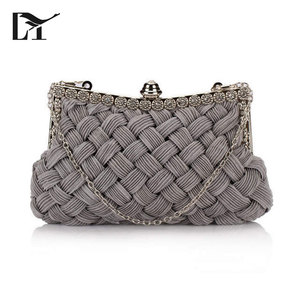 Blue White Grey Thick Woven Pattern Girls Fashion Clutch Bag Evening