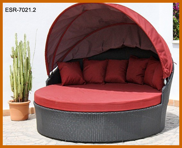 personnalis ronde chaise longue en rotin m ridienne avec. Black Bedroom Furniture Sets. Home Design Ideas