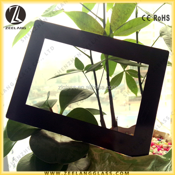 4mm black color silk screen printing glass photo frame