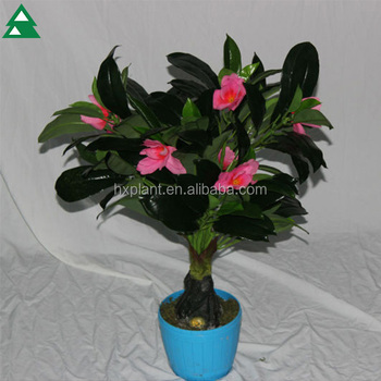 Real Touch Artificial Hibiscus Flower Bonsai Plant For Home