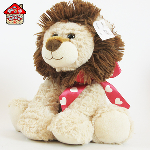 Hot sale sweet cute plush stuffed toys custom plush animals lion with bowknot for Valentine's gift