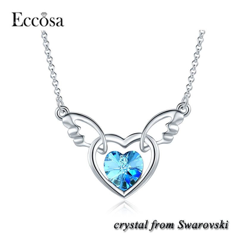 Heart Angel Pendant Necklace women 2017 Eco Friendly Fashion Jewelry Crystal Made From Swarovski