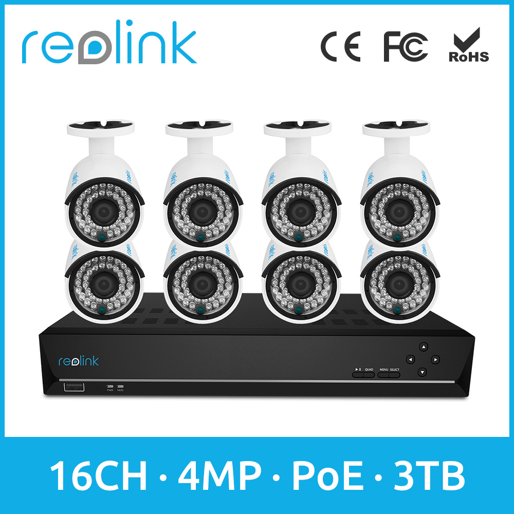 Reolink 16ch 4MP PoE Security IP Camera Kit 8 Bullet Outdoor Cams Set w 3TB HDD RLK16-410B8