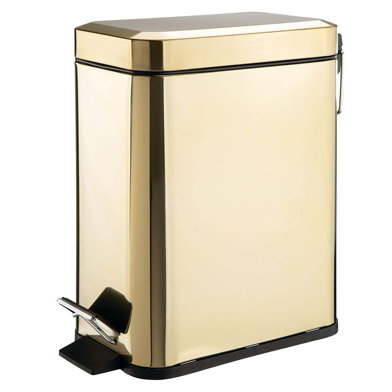 mDesign 5 Liter Rectangular Small Steel Step Trash Can Wastebasket, Garbage Container Bin for Bathroom, Powder Room, Bedroom, Kitchen, Craft Room, Office � Removable Liner Bucket, Soft Brass