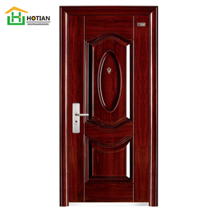 2018Hot sale high quality Exterior metal door main entrance gate designs wooden color fire rated steel door factory price