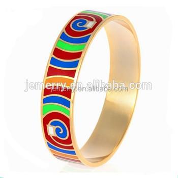 Fashion Newly Chic Simple Jewelry Style Belize Bangle Colorful Enamel Gold Bracelet Eamel Product On
