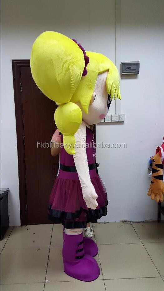 bswm50 yellow hair dance girl mascot costume custom girl mascot