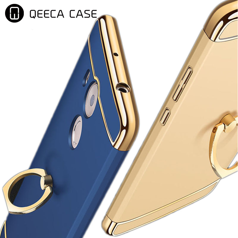 3 detachable parts slim anti-slip shockproof phone case for huawei mate 8 9 case back cover with ring holder