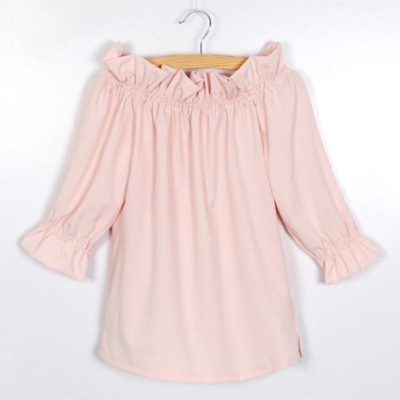 Fashion Women Blouse Puff Sleeve Slash Neck Soild Shirt Strapless Off Shoulder Ruffles Feminine Blouses Ladies Tops LJ3866C