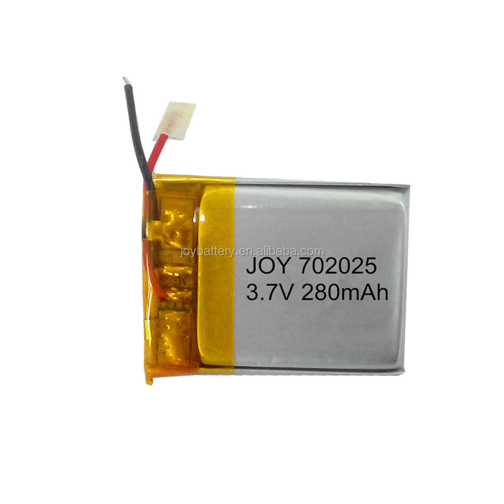 Mini size 702025 3.7V 280mAh rechargeable lithium polymer battery with pcm