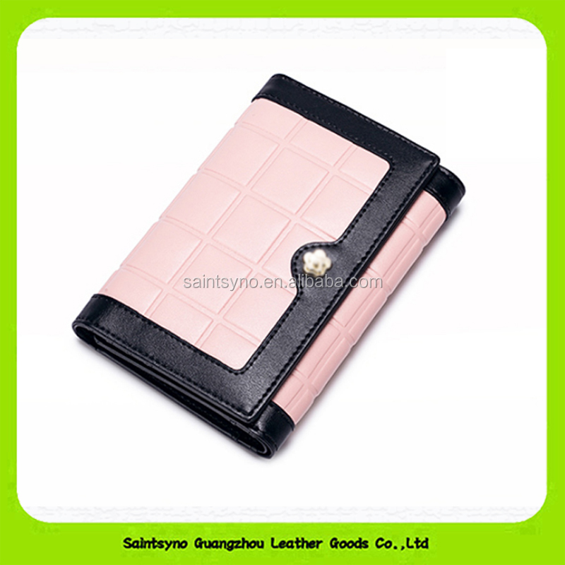 15637 Wholesale good quality genuine leather purse for lady with 4 card holders & Zipper closure
