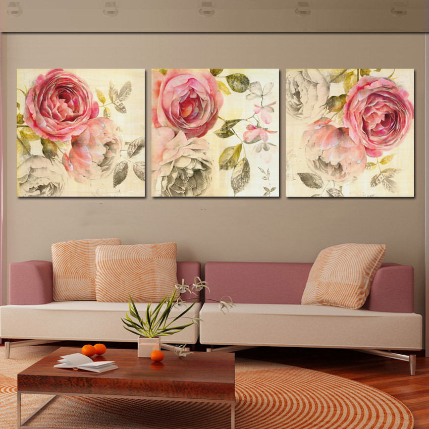 Modern Painting Canvas Basketball Wall Pictures Home Decor: 3 Piece Wall Art Painting Classic Flower Rose Canvas
