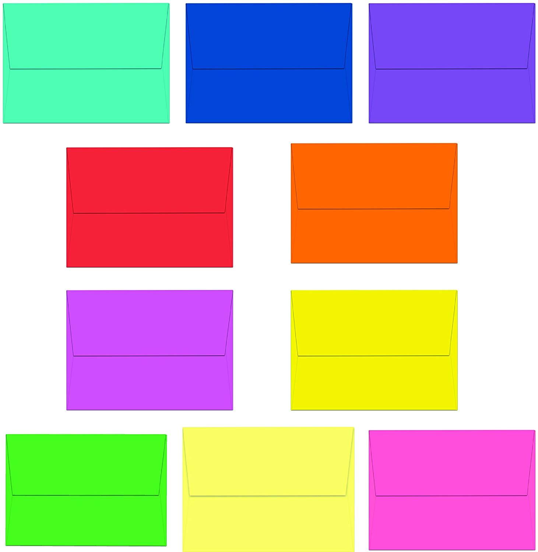 """40 Multi-Color A7 Envelopes - 7.25"""" x 5.25"""" - Square Flap"""