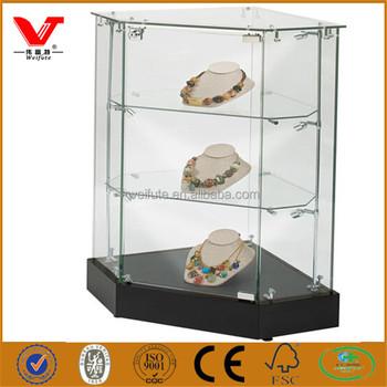 factory sale retail shop glass corner necklace display cabinet cases