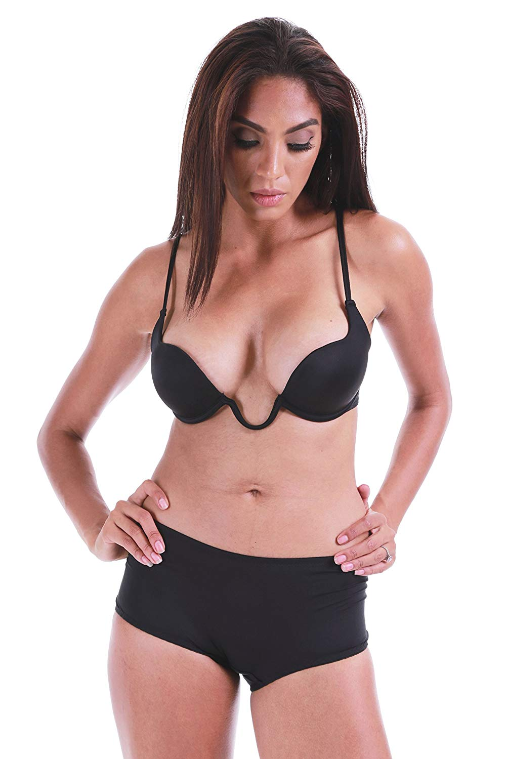 9150130ad4609 Get Quotations · Magic Curves U Deep Plunge Extreme Cleavage Push-Up Demi  Bra (29062)