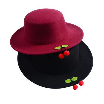 c81b251ee7ab Wholesale women cute flat top big brim custom wool felt bowler hat with  cherry