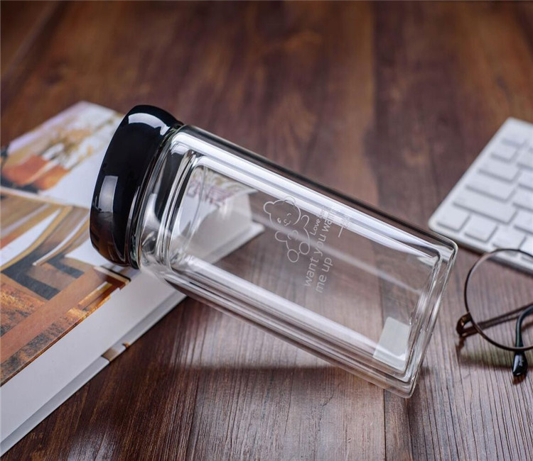 Manufacturer Supplier promotional gift shaker glass drinking bottles with lid bottle great price