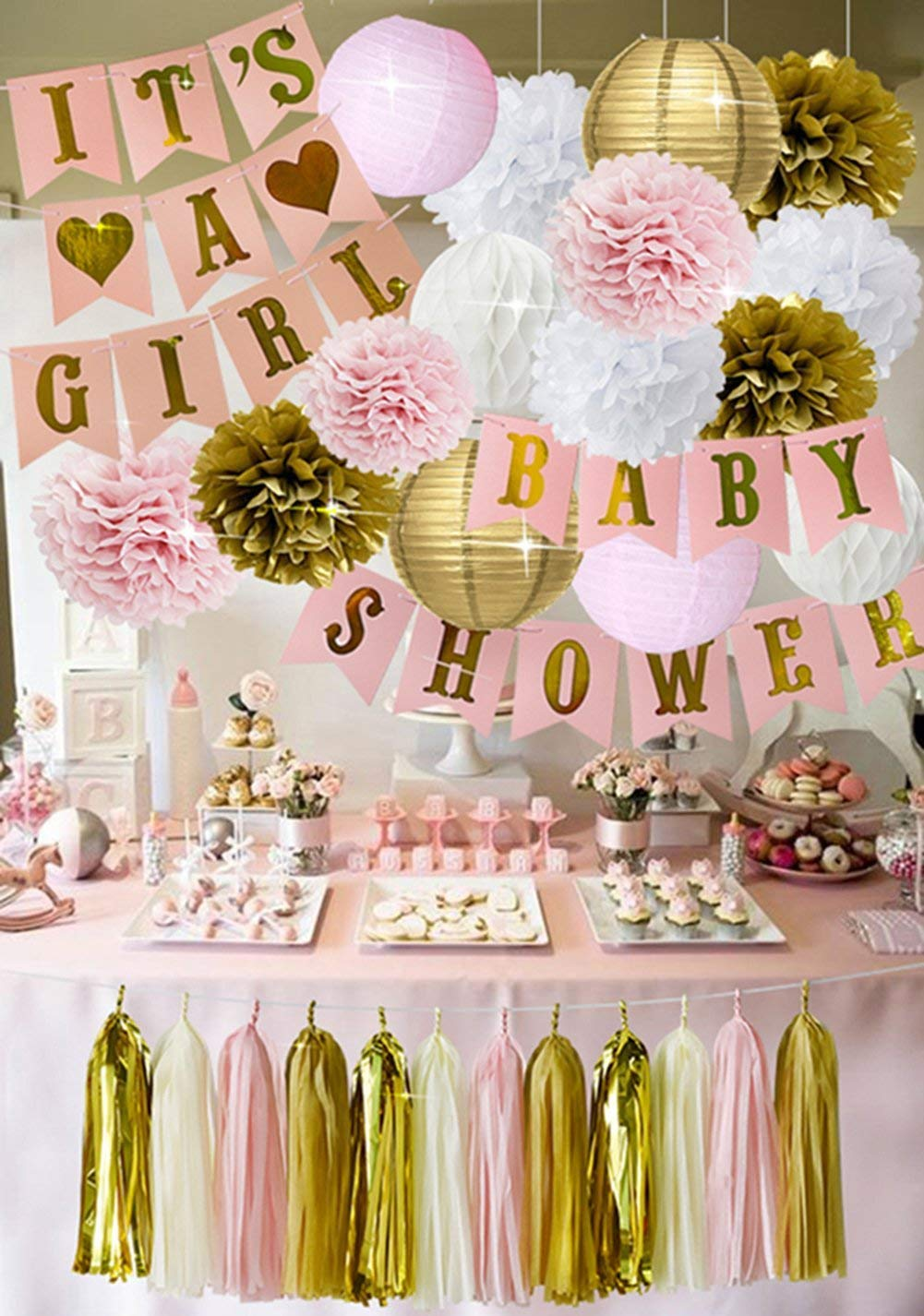 HappyField Baby Shower Decorations for Girl It's A Girl Baby Shower Banner Tissue Pom Poms Paper Lanterns Paper Honeycomb Balls Tissue Paper Tassel Party Decorations (Pink and Gold)