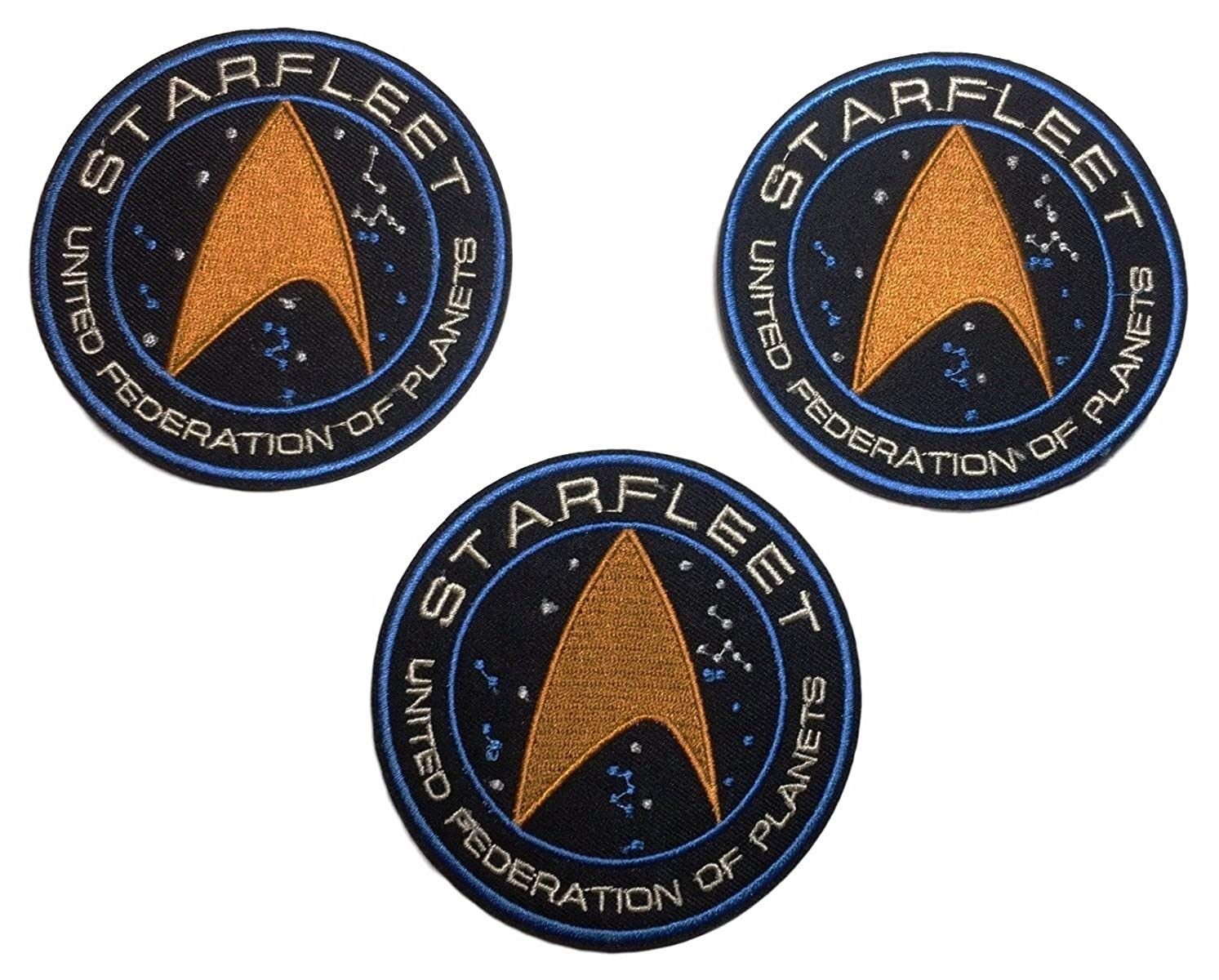 Star Trek UFP Command Starfleet Iron On Patch Set of 3 Patches
