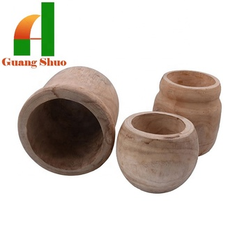 Natural style classic wood craft pots and jars for home decoration/home craft