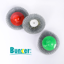 high quality GI scrubber for dish cleaning with short handle pan washing galvanized mesh scrubber