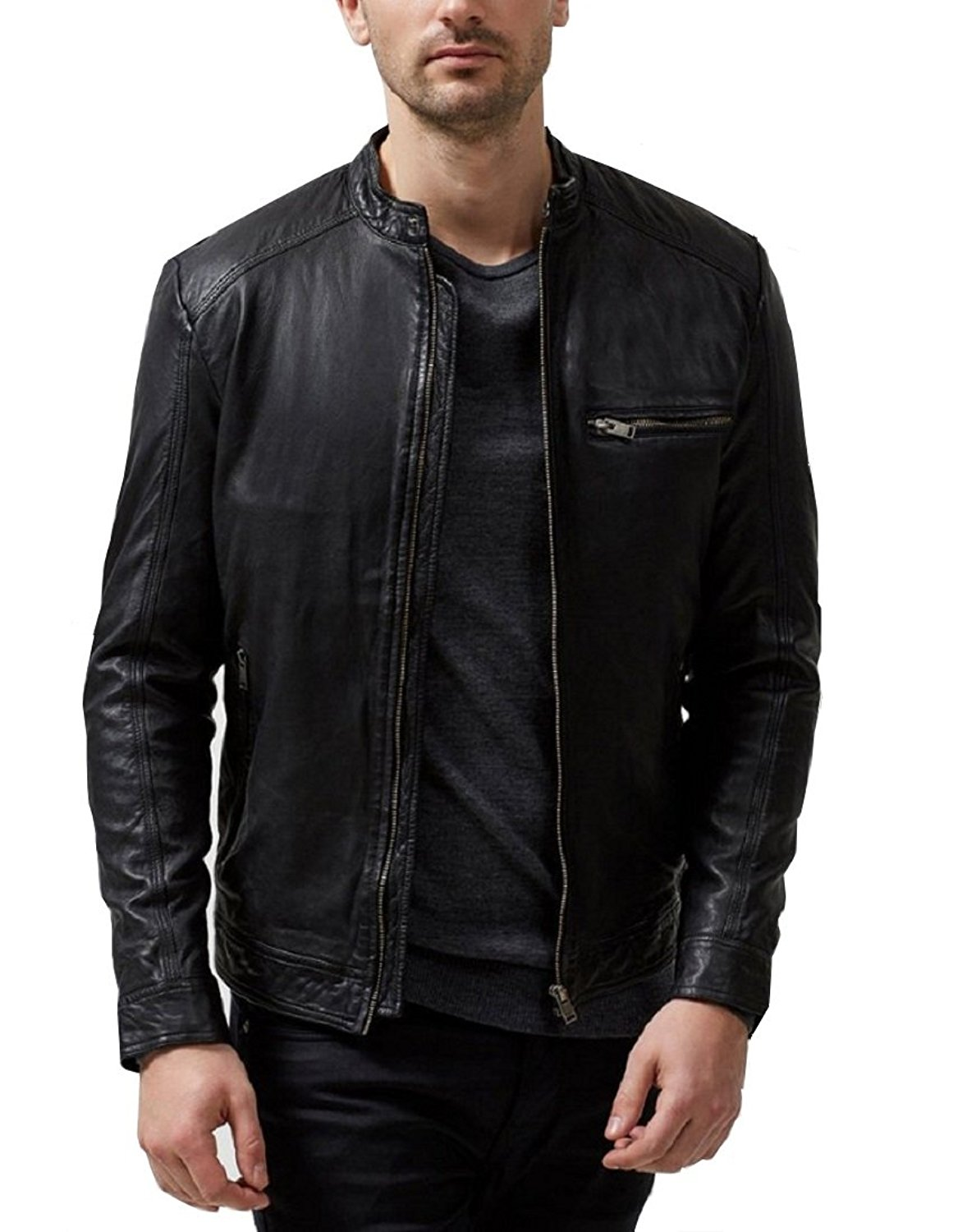 Absolute Leather Men's Sparta Black Classic Genuine Lambskin Leather Jacket