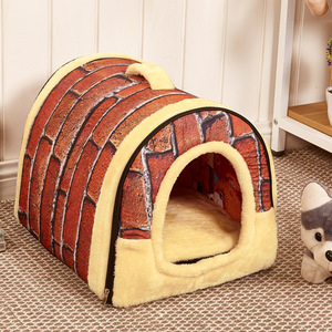 New arrive top quality indoor house design foldable super soft velvet warm comfortable dog nest bed with handle