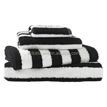 100 Otton Plain Terry Striped Black White Bath Towels Buy Black White Bath Towels Black And