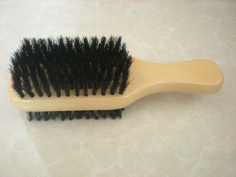 Two Way Club Natural Boar Bristle Wooden Hair Brush