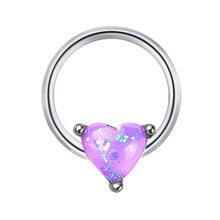Модное женское сердце форма искусственный опал кольцо для носа из нержавеющей стали пирсинг ювелирные изделия(China)