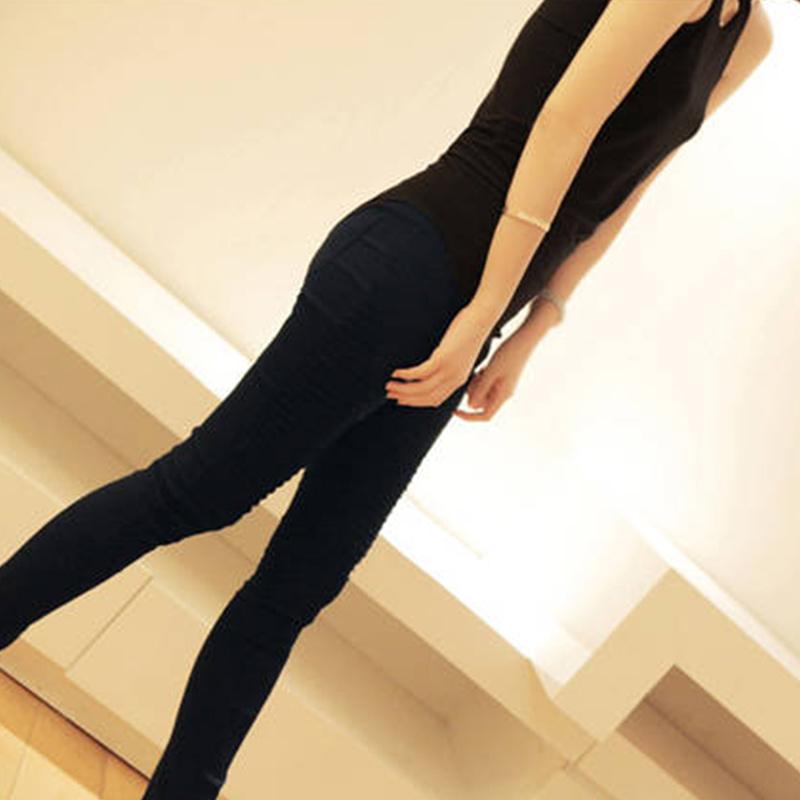 2015 женщин свернуть карандаш брюки мода узкие брюки белый уменьшают подходящий брюки Большой размер женские эластичные брюки XL X60 * E3447 #