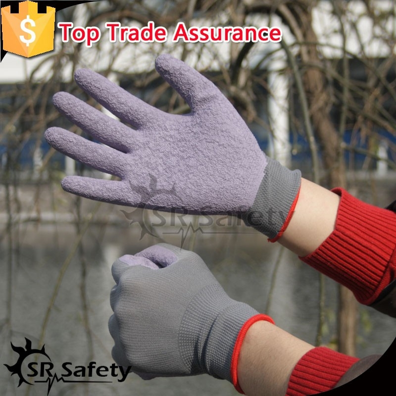 SRSAFETY 10 g grey polyester palm coated top quality gloves made in china/safety gloves