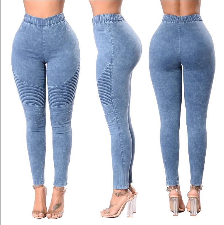 2019 elastik bel kadın pantolon Kadın Sıska Kot Bayanlar Rahat Slim Fit Uzun Pantolon Kadın boy Pantolon